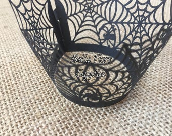 Spider Web Halloween Cupcake Wrappers- Spooky Cupcake Liners- 12 Cupcake Wrappers-  Halloween Cupcake Liners-