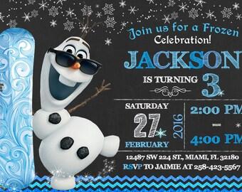 Frozen Olaf Invitation Birthday Frozen Olaf Party
