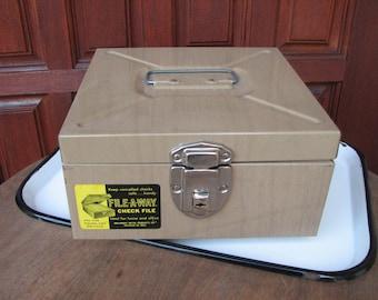 Vintage Metal File Box by File-A-Way, Woodgrain Industiral Metal Records Box with Key, Cash Box, Office Organization, Rustic Decor, Checks