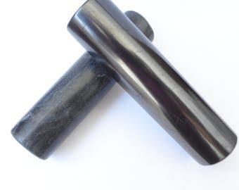 Shungite cylinder Harmonizers cylindrical of Shungite and Talkohlorit (Soapstone), polished.