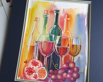 Watercolor wine painting, great gift for any household