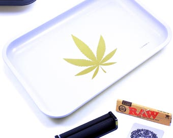 "Full Size Rolling Tray – 12"" x 8"" White Tray + 110mm Rolling Machine + King Size Raw Rolling Papers  + Loader – Lionhead"