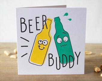 Beer Card, Beer Buddy Card, Funny Birthday Card, Birthday Card, Greeting Card, Fun Beer Card, Birthday Card Funny, Beer Birthday Card