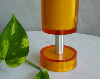 MidCentury Table Acrylic Lighter, in amazing electric Orange color. 1960's.