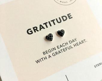 Sterling Silver Black Crystal Heart Earrings/ Heart Posts/ Black Heart Studs/ Gratitude Jerelry/ Inspirational Jewelry/ Wish Bracelet