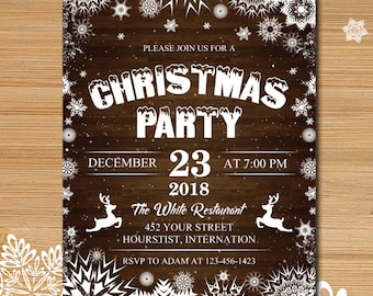 Christmas party invitation, Holiday party invitation, Winter party, Christmas tree invitation, Christmas dinner, Snow invitation