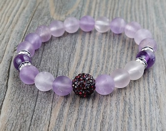 Bracelet lavender Amethyst and amethyst 8mm - rhinestones purple