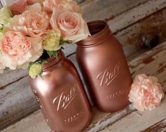 Set of 6 ROSE GOLD Ball Mason Jars, Wedding, Centrepiece, Vase, Florist Display, Display Piece