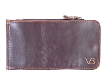 Leather Credit Card Wallet, Roper Brown Leather Wallet