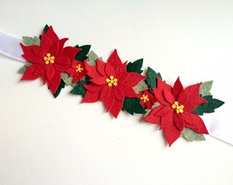 Christmas flower crown -red poinsettia with various green leaves