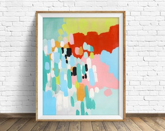 "colorful abstract wall art, large abstract wall art, pastel, abstract painting, instant download printable art - ""Driving in the Country"""