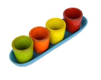 Handmade Ceramic shot-holder and 4 shots set, shots, shot-holder, pottery, stoneware, drinkware & barware, gift