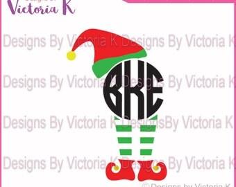 Elf Hat and Legs, Monogram, SVG, PNG, EPS Files, Cricut Design Space, Vinyl cut Files