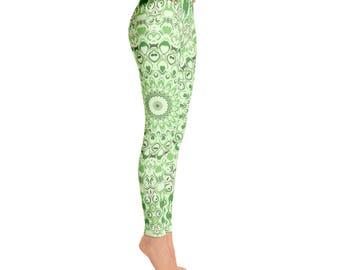 Green Yoga Pants for Women - Mid Rise Yoga Leggings, Green Leggings, Printed Mandala Design Leggings Tights