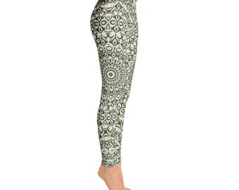 Mid Rise Sage Green Yoga Leggings - Sage Leggings, Green and White Printed Leggings, Mandala Art Tights, Stretch Pants
