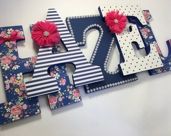 Girls navy blue and hot pink nursery letters