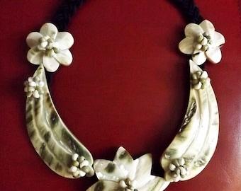 Handmade Large Shell & Macrame Necklace