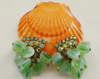 Green Glass Dangle Earrings