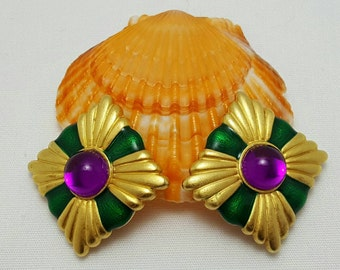 Purple And Green Designer Style Earrings