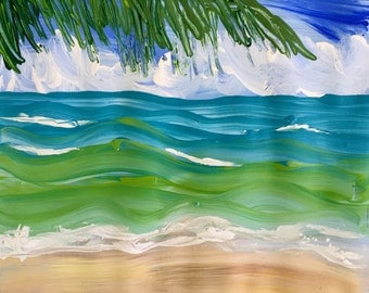 Miami Beach Florida  - Original Acrylic Painting, art on paper, 12 x 12, No Frame, Painting only