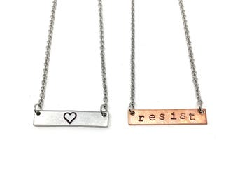 Support Planned Parenthood: Heart and Resist Necklaces