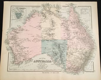 1879 Gray's New Map of Australia, Original Hand-Colored Map, Large Antique Map