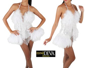 Showgirl Dress - Vegas Angel, Sequin Feather Dress, Vegas Dress, Showgirl Dress, Showtanzkleid, Tanzkleid, robe plume