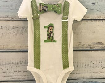 Cake smash outfit boy - first birthday outfit boy - first birthday shirt - monkey birthday shirt - monkey 1st birthday - bowtie suspenders