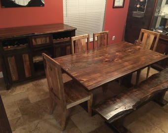 Beautiful Live Edge Cypress Table, Partial New, Partial Reclaimed