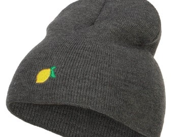 Mini Lemon Embroidered Short Beanie