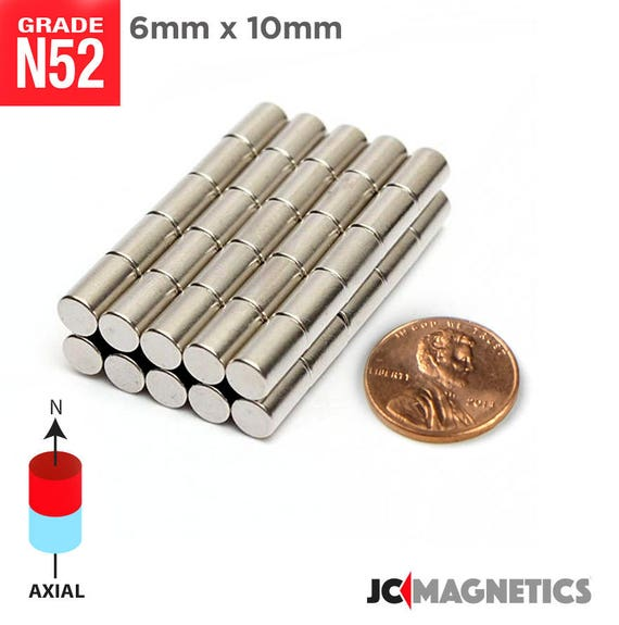 100pcs 6mm x 10mm 1 4 x 3 8 n52 super strong rare for Super strong magnets for crafts