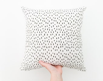 White Nursery Pillow, Monochrome Pillow Cover, White Stitched Pillow, Black White Throw Pillow, Scandinavian Nursery Decor, White Cusion
