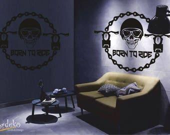 Moto Skull - Born to Ride - Wall decal - Biker Rocker Vinyl Wall Sticker Mural Wall Art Racing Biking Motorcycle Anarchy Gang