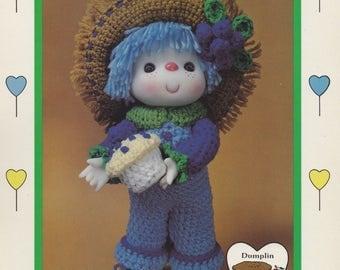 Blueberry Cupcake, Dumplin Designs Lollipop Lane Crochet Doll Pattern CDC411 OOP