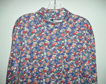 90s mock turtleneck// Flowered short boxy hipster pullover// Vintage Sara Campbell// Women's size small medium