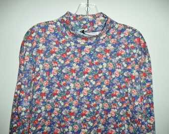 90s mock turtleneck// Flowered short boxy hipster pullover// Vintage Sara Campbell// Women's size small medium