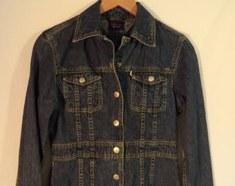 Tommy Hilfiger 90s does 70s jean jacket// Hippie boho preppy hip hop// Vintage medium blue wash blue long// Women's size small XS 2 4 USA
