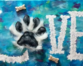Mixed Media Painting, Dog painting,