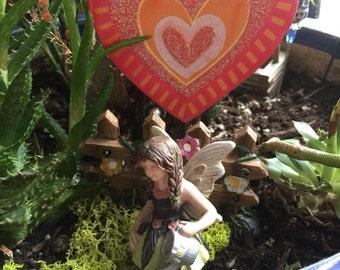 Valentines Heart Stake, Fairy Garden Stake, Heart Stake, Valentines Floral Heart Stake, Flower Pot Stake, Valentines Stake