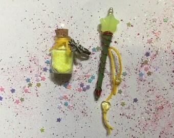 Miniature fairy wand & fairy dust set, Miniature Fairy Wand, Miniature Fairy Dust, Miniature Wand, Pixie Dust, Yellow Fairy Wand