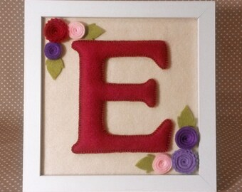 Handmade Personalised Framed Felt Initial with Flowers