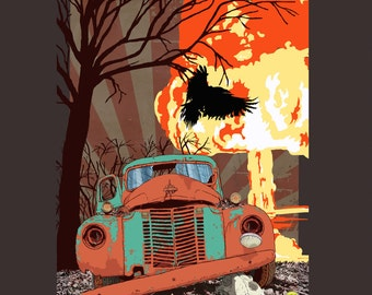 Digital art print of the Apocalypse, raven, old car, atomic bomb, end of the world