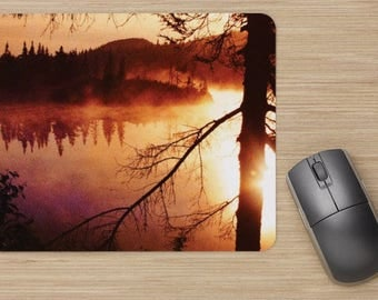 Mouse pad, northern lake, canada lake, sunrise, landscape, photo of a lake, photo of a northern lake, photo canadian lake, picture of lake