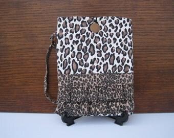 SALE Cougar Kindle Case, Kindle Fire Sleeve, Animal Print Ruffled Kindle Cover, Kindle Protector, Kindle Case with Wristlet, Cougar Bag