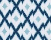 Fabric, Joel Dewberry, Botanique, Aztec Ikat, Deepwater, Quilting Cotton Fabric, Navy Blue, Light Blue