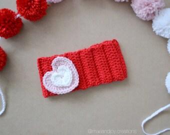 Heart Ear Warmer / headwrap / heart headwrap / Valentine's Day