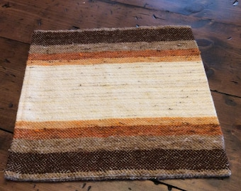 Vintage Pillow Cover, Soft Wool, Woven, Brown, Tan, Ivory, Nuetral Stripes, Accent Pillow (B385)