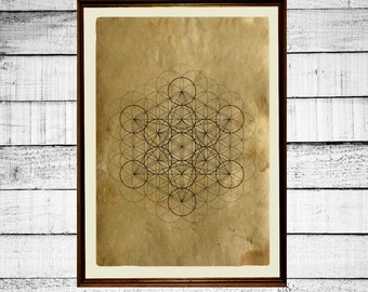 Flower of life print, sacred geometry print, metatron cube poster,  flower print, occult antique metatron print aged paper