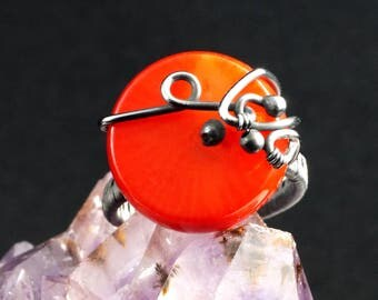 Oxydized Sterling Silver ring with Red Coral / wire wrapped /