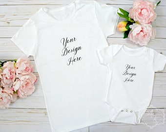 Mommy and Me White T-shirt and Onesie Product Mock up, White T-shirt Background Template, Styled Shirt Mock up Design